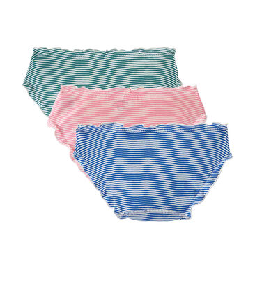 Set of 3 light cotton ruffled panties for woman