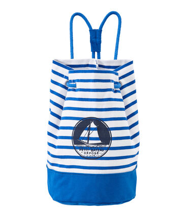 Boy's sailor bag in heavyweight jersey Marshmallow white / Perse blue