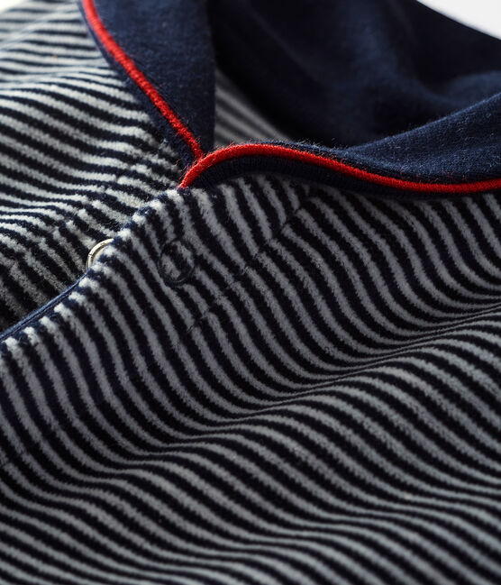 Baby boy's velour sleepsuit in milleraies stripes Smoking blue / Multico white