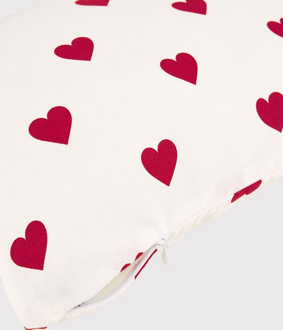 Red Heart Pattern Poplin Cushion Marshmallow white / Terkuit red