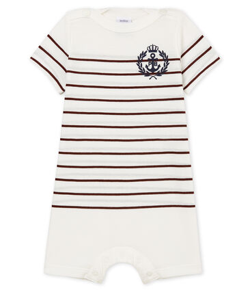 Baby boys' light jersey Shortie with striped section