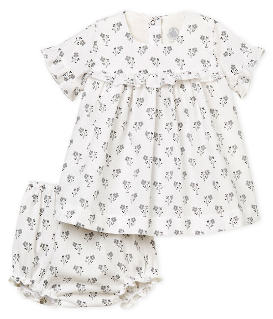 Baby girls' printed dress and bloomers Marshmallow white / Multico white