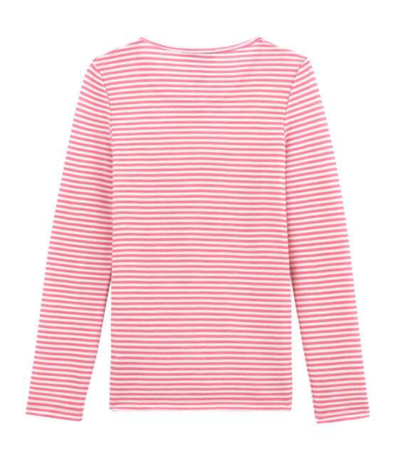 women's long sleeved cotton and wool t•shirt Cheek pink / Marshmallow white