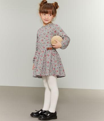 Girls' Print Dress Beluga grey / Multico white