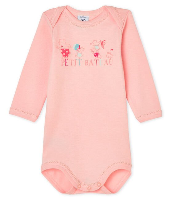 Baby girls' long-sleeved bodysuit Minois pink