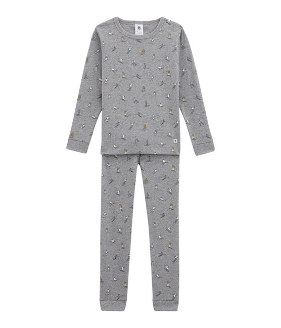 Little boy's fitted pyjamas. Subway grey / Multico white