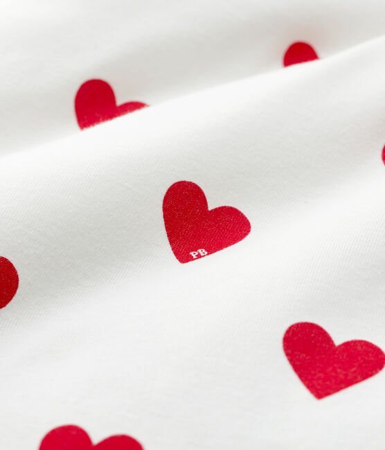 Babies' Red Heart Pattern Ribbed Cot Bumper Marshmallow white / Terkuit red