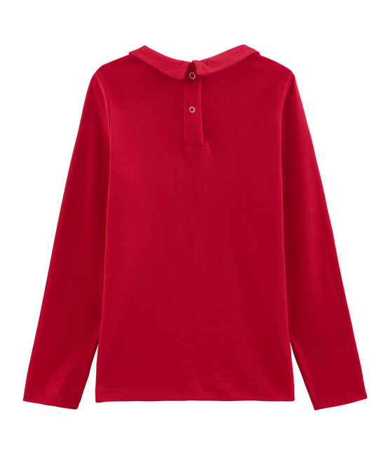 Girl's T-shirt with Peter Pan collar Froufrou red
