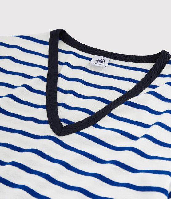 Women's Iconic V-Neck Cotton T-Shirt Marshmallow white / Surf blue