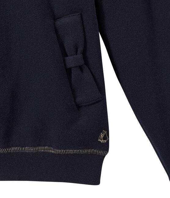 Girl's zippered sweatshirt with hood Smoking blue
