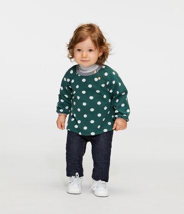 Baby Girls' Long-Sleeved Print Blouse Sousbois green / Marshmallow white