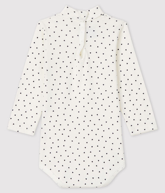 Baby girl's long-sleeved bodysuit Marshmallow white / Smoking blue