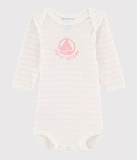 Baby Girls' Long-Sleeved Bodysuit Marshmallow white / Vienne pink
