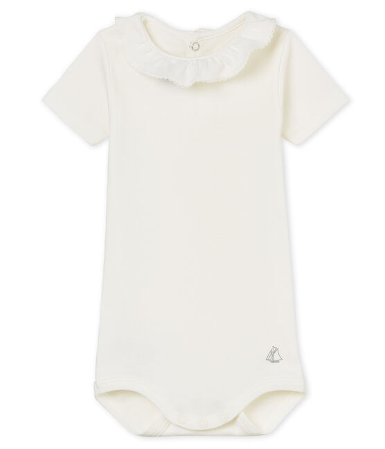 Baby girls' bodysuit with ruff Marshmallow white