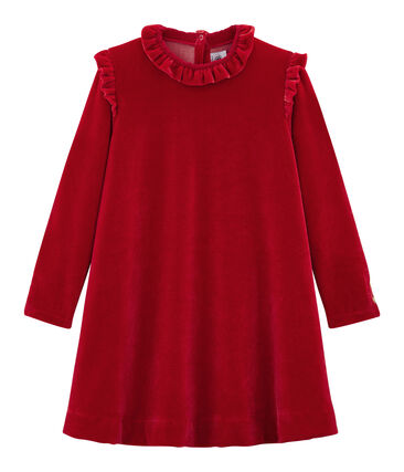Girl's Long-sleeved Dress Terkuit red
