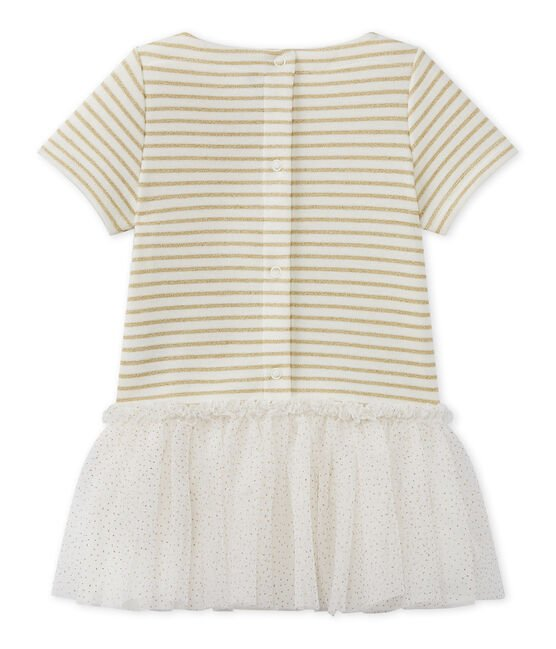 Baby girl's dress with short sleeves Marshmallow white / Em Dore brown