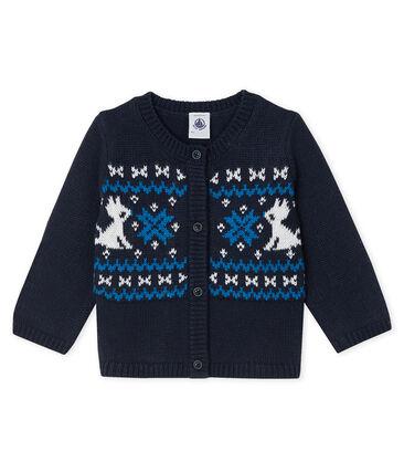 Baby Boys' Wool and Cotton Cardigan Smoking blue / Multico white