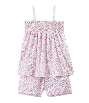 Girl's print pyjamas with smocking