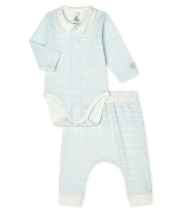 Baby Boys' Ribbed Clothing - 2-Piece Set Marshmallow white / Jasmin blue