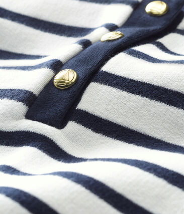 Baby girl's iconic dress Marshmallow white / Smoking blue