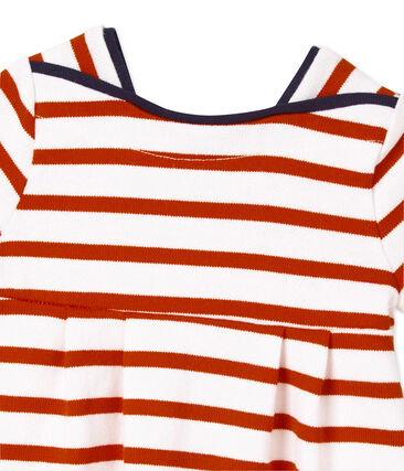 Robe bébé fille en jersey lourd rayé Lait white/Peps red