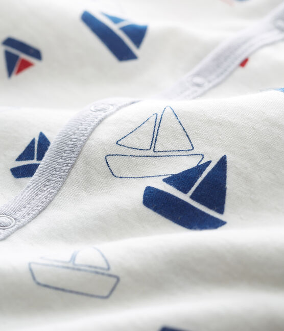 Baby Boys' Tube Knit Sleepsuit Marshmallow white / Multico white