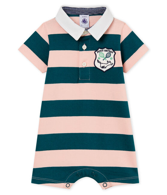 Baby boys' striped polo shirt Shortie Pinede green / Rosako pink