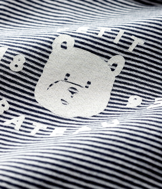 Baby's long-sleeved roll-neck bodysuit Smoking blue / Marshmallow white