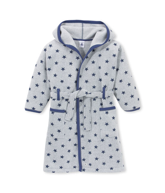 Little boy's housecoat Subway grey / Logo blue