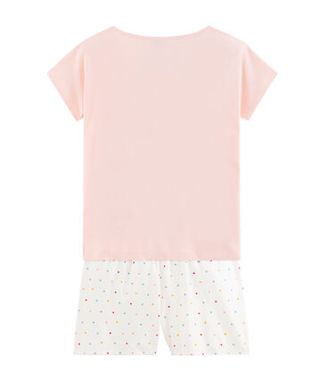Girls' Ribbed Short Pyjamas Minois pink / Multico white