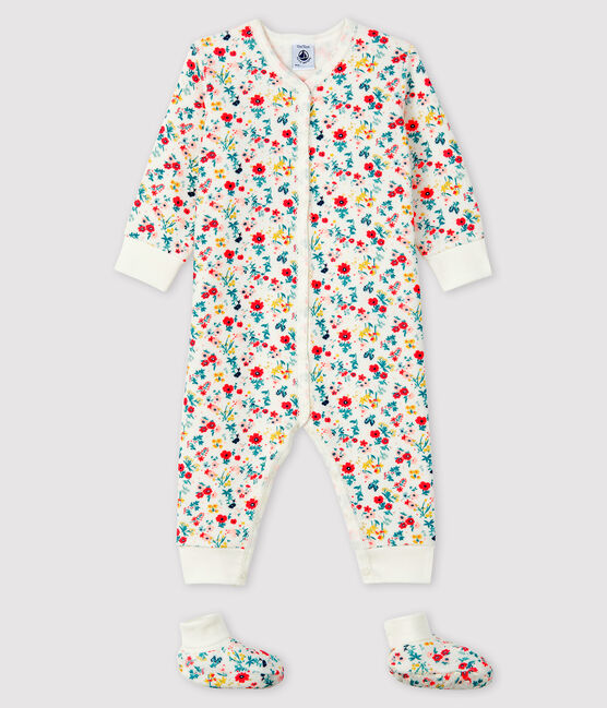 Baby Girls' Terry Nightwear Set Marshmallow white / Multico white