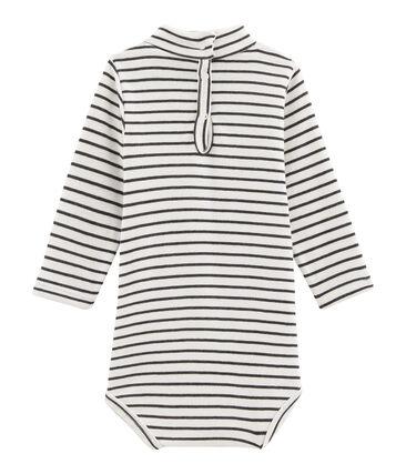 Unisex Babies' Long-Sleeved Roll-Neck Bodysuit Marshmallow white / City black
