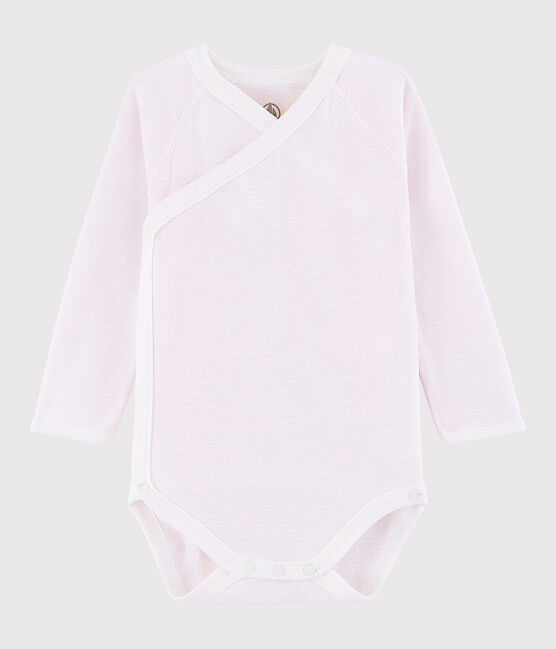 Baby Girls' Long-Sleeved Wrapover Bodysuit Vienne pink / Marshmallow white