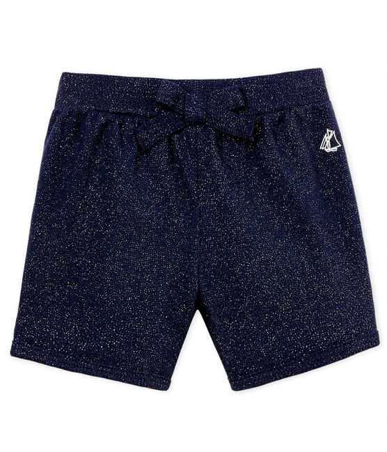 Baby girls' shiny shorts Smoking blue / Or yellow