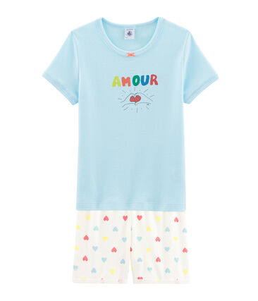 Girls' Ribbed Short Pyjamas Glacis blue / Multico white