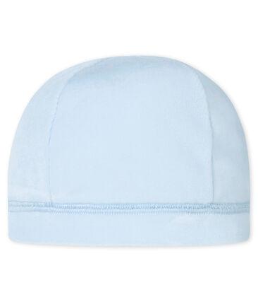 Unisex newborn baby's velour hat Fraicheur blue