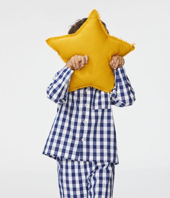 Boys' Checked Twill Pyjamas Medieval blue / Marshmallow white
