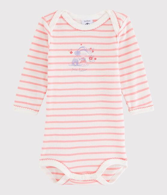 Baby Girls' Long-Sleeved Bodysuit Lait white / Gretel pink