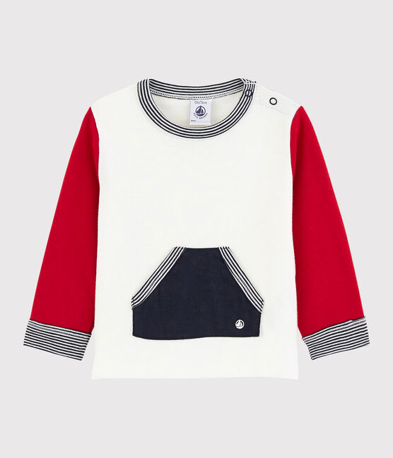 Baby boy's colourblock t-shirt Marshmallow white / Terkuit red