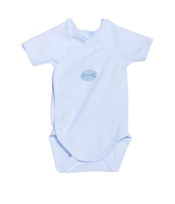 Newborn baby boy short-sleeve bodysuit in milleraies stripe Fraicheur blue / Ecume white