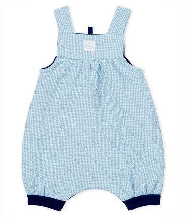 Babies' Long Quilted Tube-Knit Dungarees Acier blue / Marshmallow white