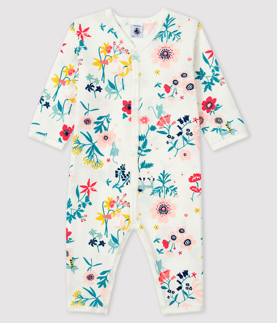 Baby Girls' Footless Floral Print Ribbed Sleepsuit Marshmallow white / Multico white