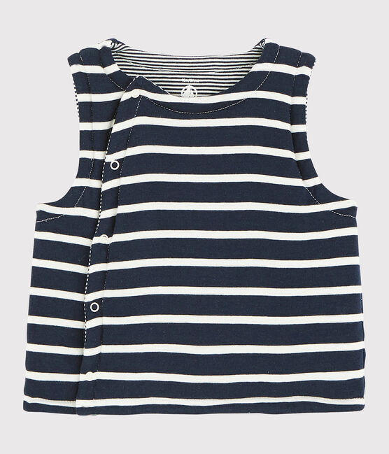 Babies' Reversible Sleeveless Vest in Padded Rib Knit Smoking blue / Marshmallow white