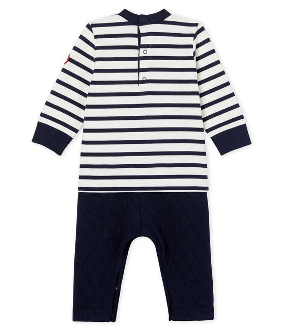 Baby Boys' Mock 2-Piece Long Jumpsuit Marshmallow white / Smoking blue