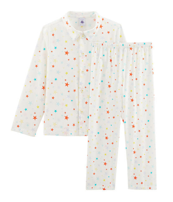 Boys' Twill Pyjamas Marshmallow white / Multico white