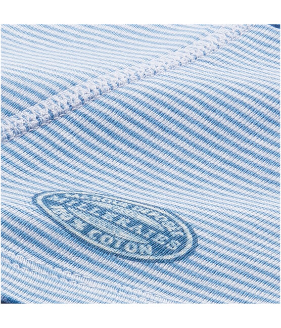 Boy's boxers with milleraies stripes Alaska blue / Ecume white