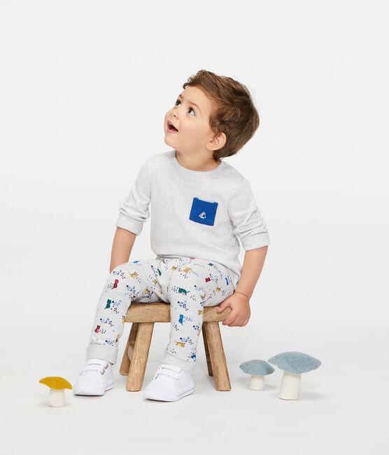 Baby Boys' Printed Fleece Trousers Beluga grey / Multico white