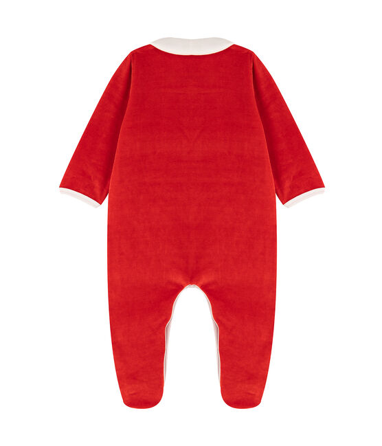Babies' Velour Neck Sleepsuit Terkuit red