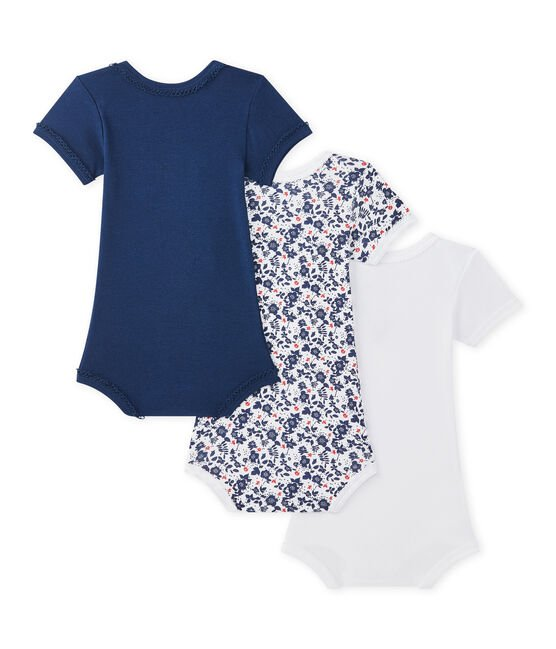 Set of 3 baby girls' short-sleeved bodysuits . set