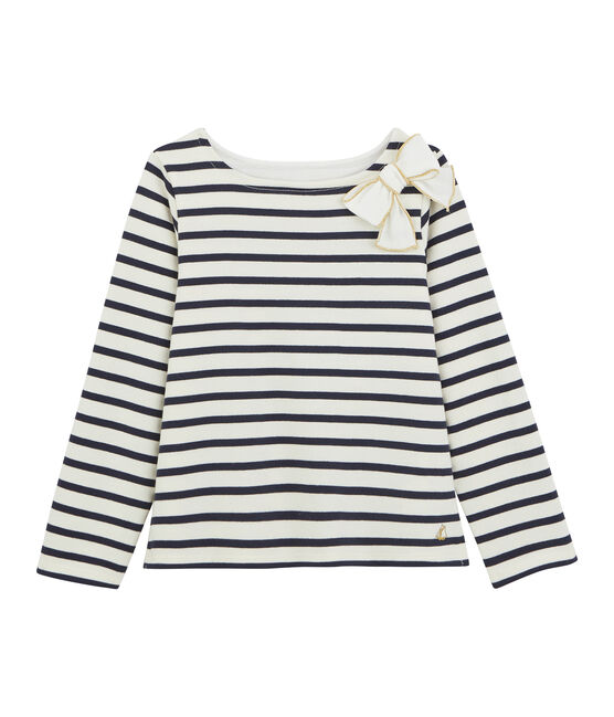 Girl's Sailor Top with Bow Marshmallow white / Smoking blue